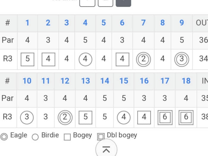 Examples of the symbols on the golf scorecard