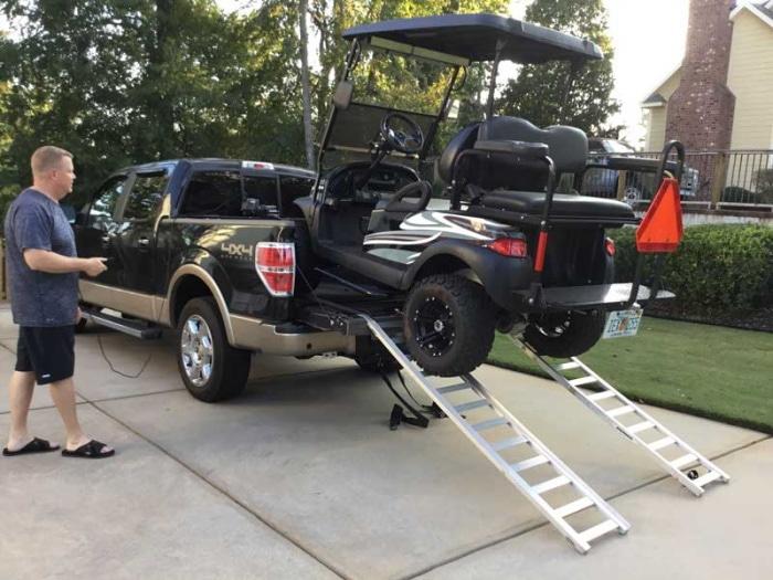 golf cart on a truck